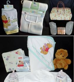 Huge Lot Winnie Pooh Diaper Bag Bibs Shoes Swaddle Wrap Wash