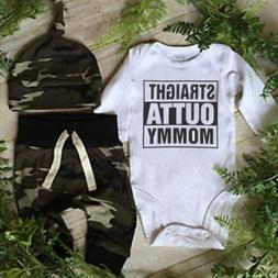 Infant Baby Boy OUTTA Clothes Camo Romper Playsuit Leggings