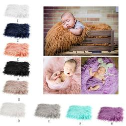 Infant Baby Photo Props Newborn Photography Soft Fur Quilt B