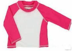 INFANT GIRLS LONG SLEEVE RASH GUARD HOT PINK / WHITE UPF 50+