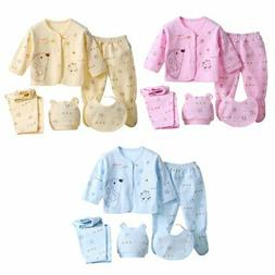 Infant Unisex Boy Girl 5Pcs/Set Newborn Baby Pants+T-Shirt O