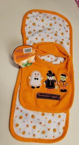 Infant Unisex Baby Gear Brand 2 Piece Happy Halloween Bib &