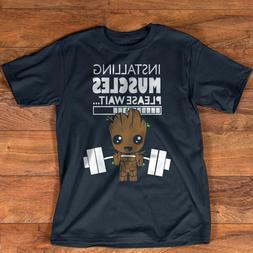 Installing Muscle Please Wait Baby Groot Cute Gym Yoga Parod