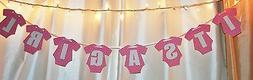 its a girl baby shower pink hanging  hanging clothing banner