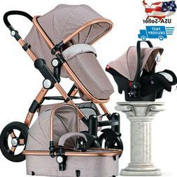 3 in1 Baby Stroller Luxury Folding Carriage Newborn High Vie