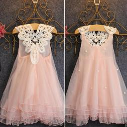 Kid Baby Girls Flower Princess Dress Lace Sleeveless Party B