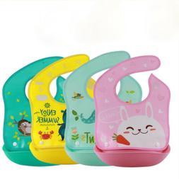 Cute Waterproof Babys Bibs Silicone+Plastic Bib Apron Baby F