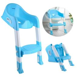 Kid Training Toilet Potty Trainer Seat Chair Toddler W/Ladde