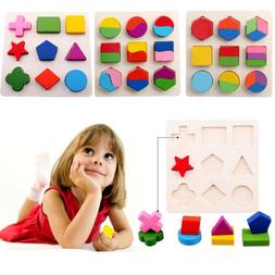 Kids Baby 3D Wooden Puzzle Toys Colorful Geometry Wood Puzzl