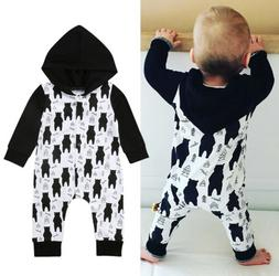 Kids Baby Boys Girls Hooded One Piece Jumpsuit Romper Casual
