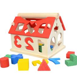Kids Baby Educational Toy Wood House Building Intellectual D