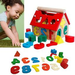 Kids Baby Educational Toys Wood House Building Intellectual