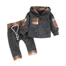 Kids Baby Girls Checked Outfit Hooded Sweatshirt Tracksuit +