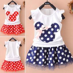 Kids Baby Girls Polka Dot Bow Tutu Dress Ruffle Princess Tra