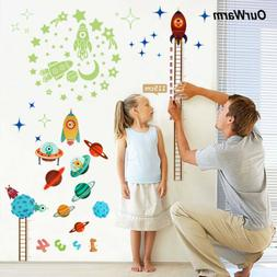 Kids Baby Planets Space Rocket Height Chart Measure Wall Sti