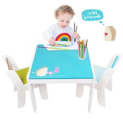 Kids Blue Wood Activity Table Chair Set Toddler Playroom Des