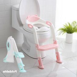 Kids Toilet Seat Ladder Baby Toddler Potty Training Step Tra