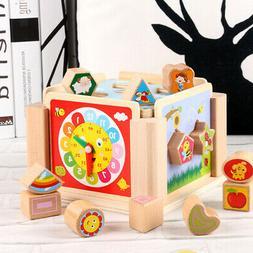 Kids Wooden Shape Sorting Cube Educational Montessori Toys G