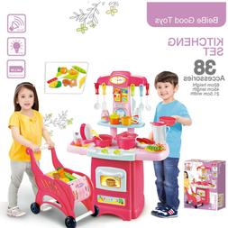 Children's Toys Electronic Kitchen Set And Shopping Cart Cut