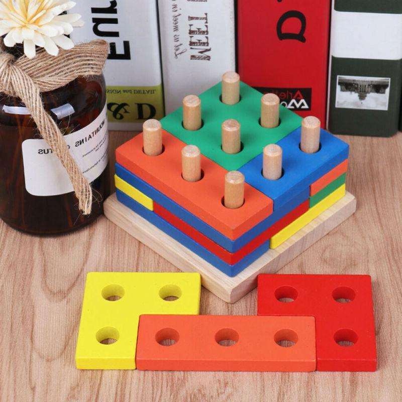 1 Set Matching Board Block Stack Sort Toys for Kids Gift