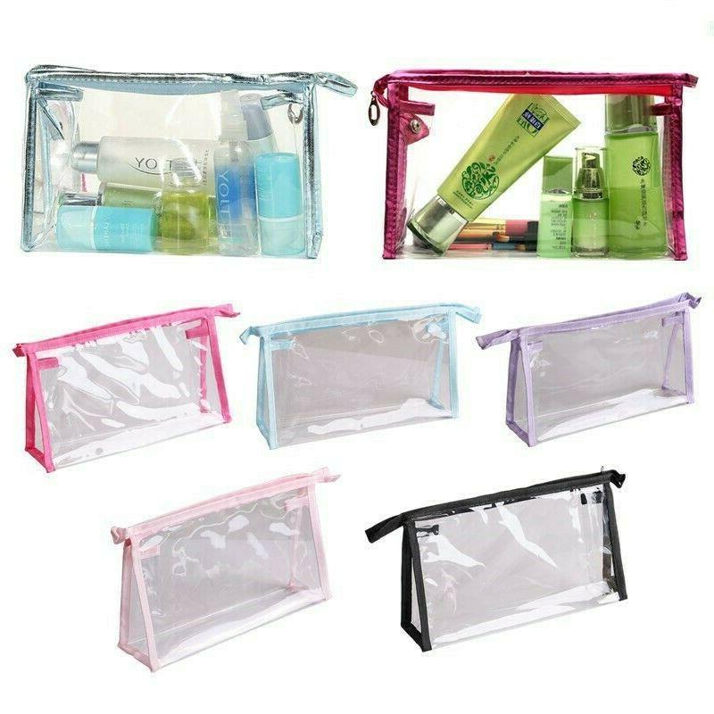 1 x transparent pvc cosmetic bag zipper