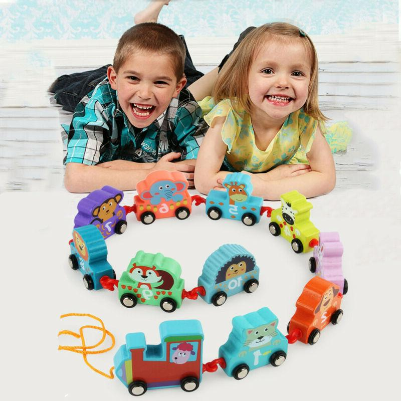 11pcs toddler toys wooden cartoon towing train
