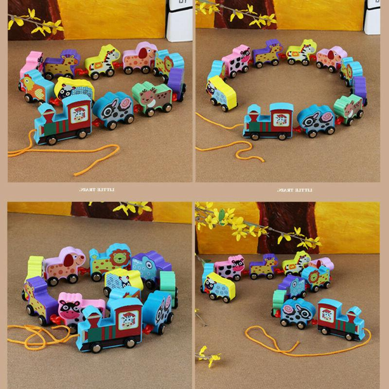 11PCS Toddler Toys Cartoon Towing Train Early Educational For