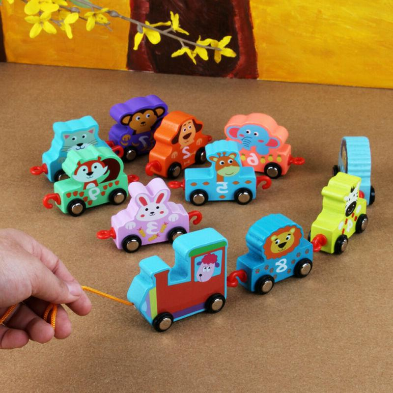 11PCS Toys Wooden Cartoon Train Early Educational For