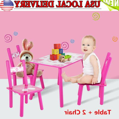 3pcs Kids Table and 2 Chairs Dining Set For Toddler Baby Gif