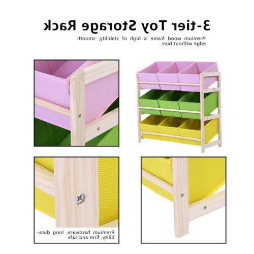 3-Tier Kids Baby Wooden Shelf Organizer + Fabric
