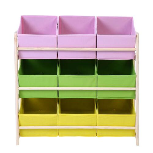 3-Tier Kids Baby Wooden Organizer Fabric Cases