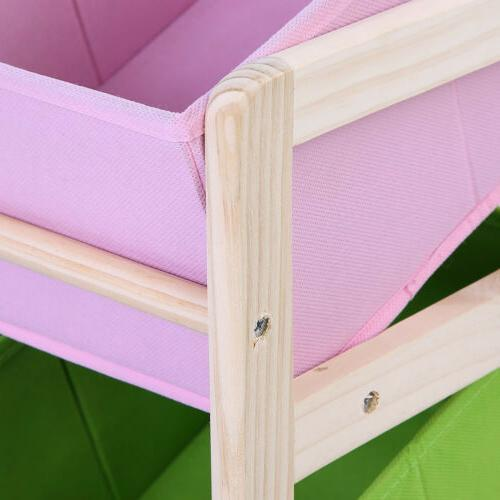 3-Tier Kids Wooden Storage Organizer 9 Fabric