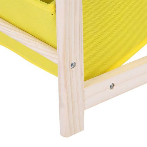 3-Tier Wooden Shelf Storage Organizer Fabric Cases