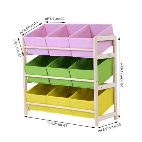 3-Tier Kids Baby Wooden Shelf Organizer Holder Fabric Cases