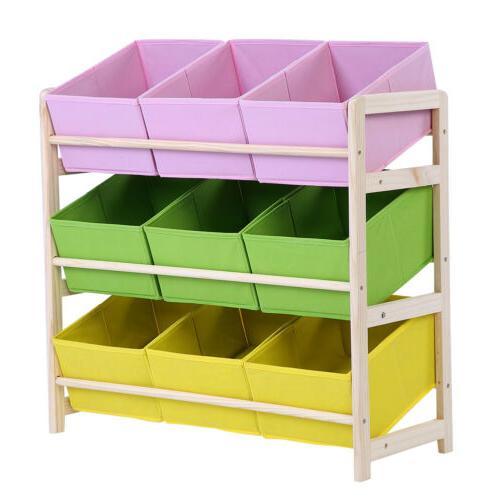 3-Tier Wooden Organizer 9 Fabric Cases
