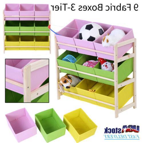 3 tier kids baby toy wooden shelf