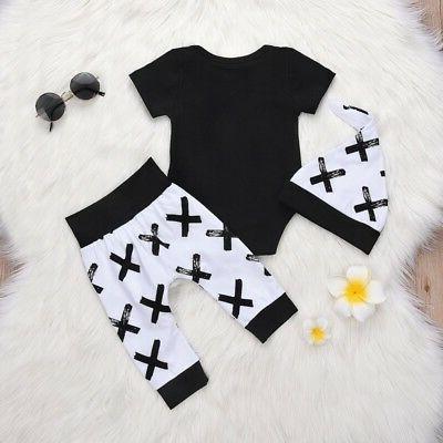 3pcs Newborn Toddler Baby Boy Girl T-shirt Outfits Set