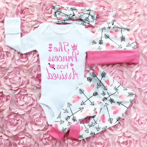 US Newborn Baby Girls Clothes Romper Jumpsuit + Floral Pants