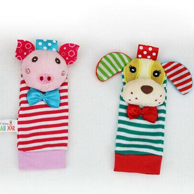 4Pcs/Set Toddler Baby Cloth Toy Piggy Dog Bell and Socks