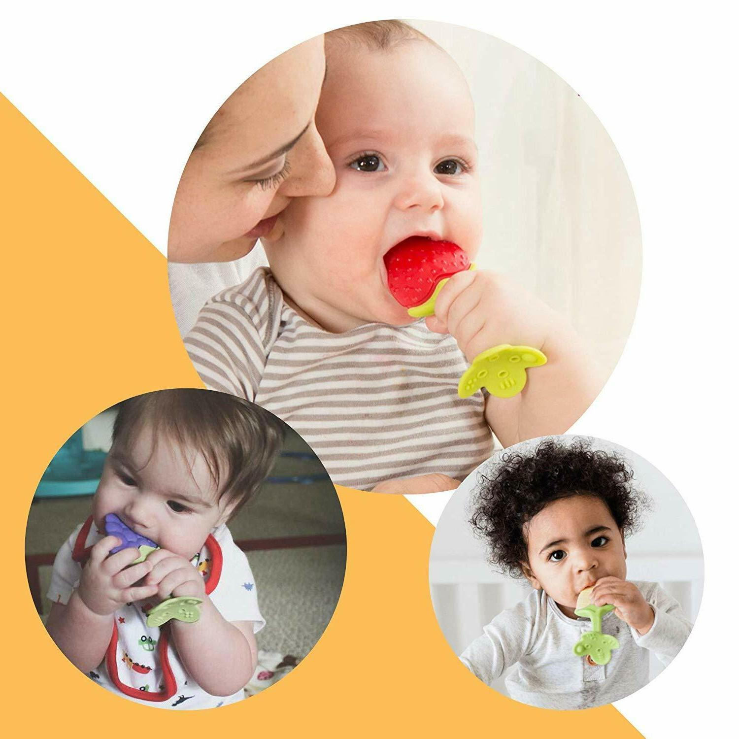 5 Pack Fruit Teething Toys Clip for Toddlers Infants