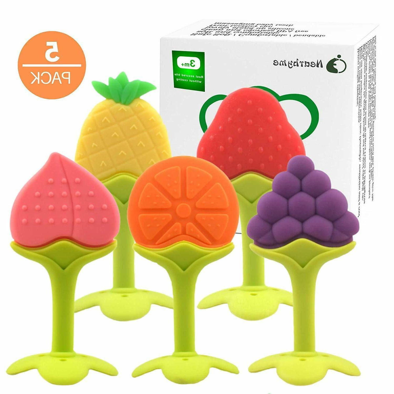 5 pack fruit baby teething toys