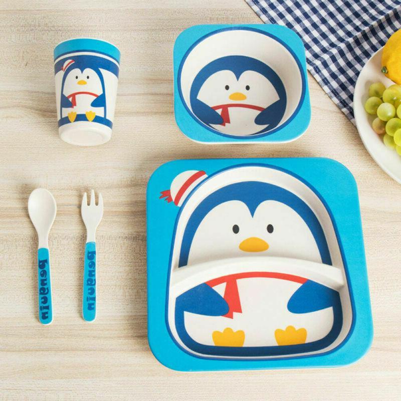 5 Pcs Children's Cutlery Set Portable Kids Dinnerware Set fo