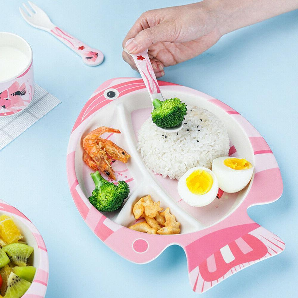 5PCS Kids Tableware Set Feeding Bamboo Fiber Cutlery Flatwar