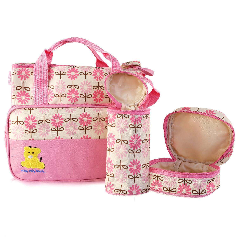 5pcs Mommy Handbag Changing Diaper Nappy Bag Bottle Mat Multifunctional