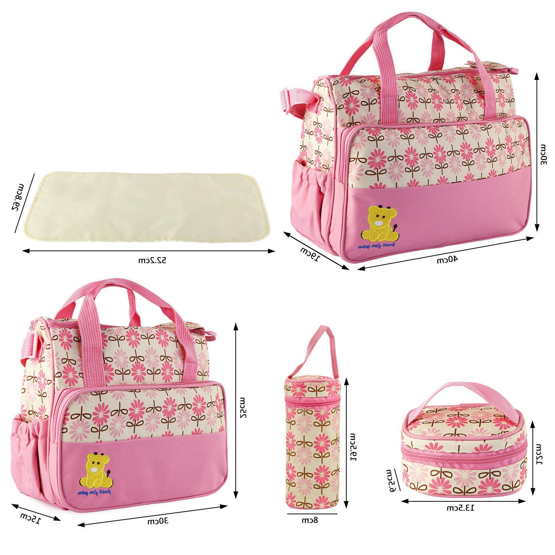 5pcs Mommy Handbag Changing Nappy Bottle Set
