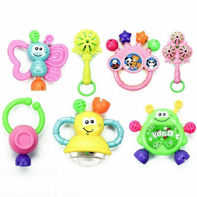 7PC Toddler Shaking Bell Rattles Kids Hand