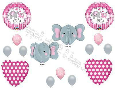 NEW! IT'S A GIRL ELEPHANT Baby Shower Balloons Decoration Su