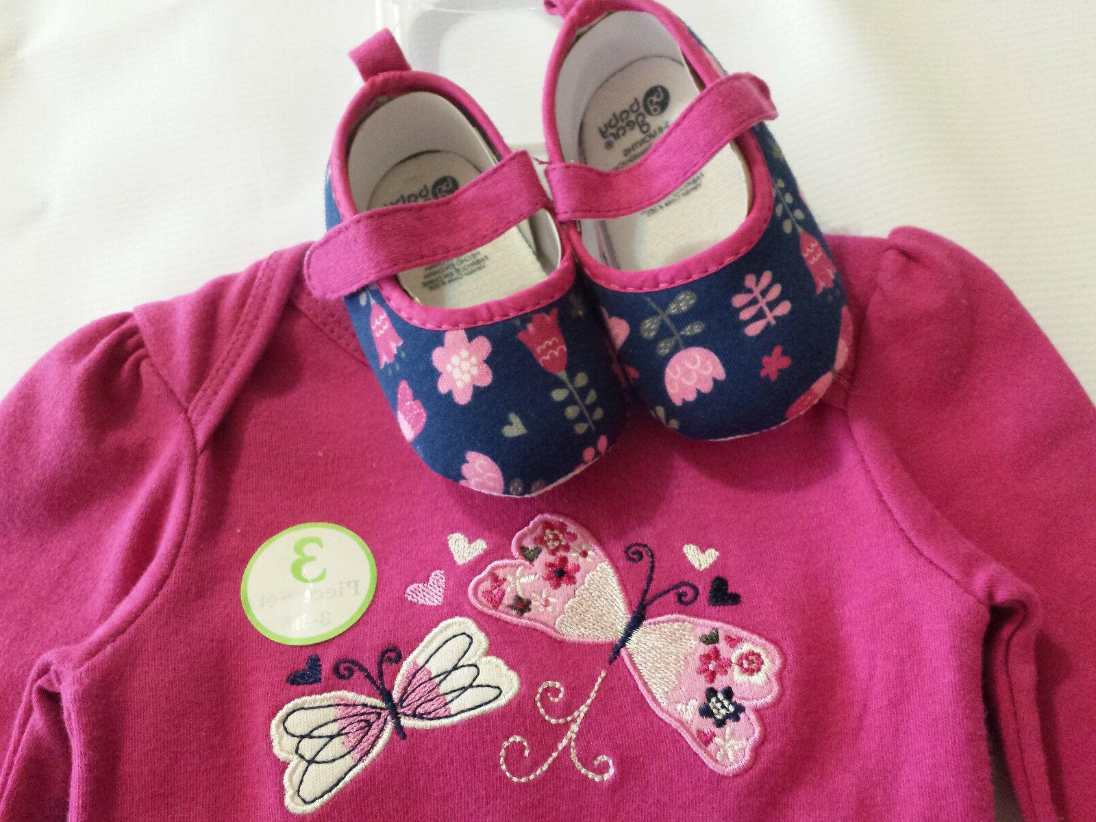 Baby Gear Butterflies3pc NW Outfit Sleeve 3-6 Month