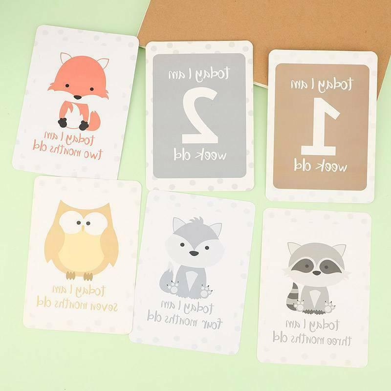 Baby Milestone Cards Safari Animals Unisex 24 Baby Shower Gift New US