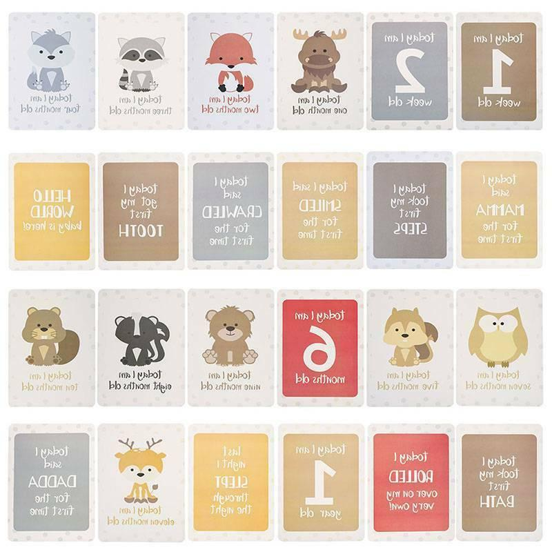baby milestone cards safari animals unisex pack